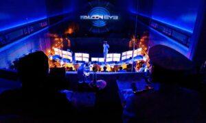 Falcon Eye projected on big screen in darkened room