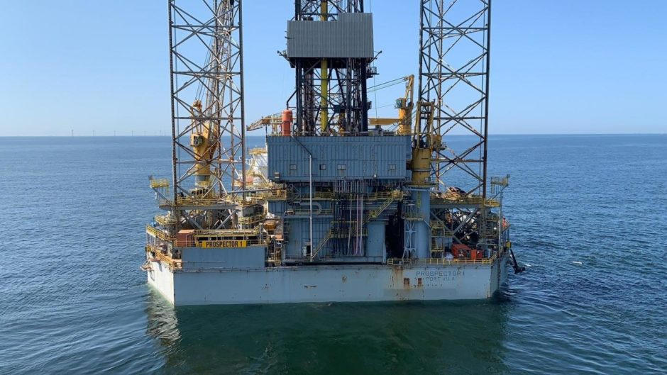Jack-up rig in water