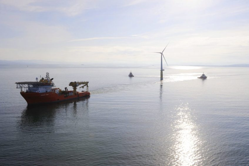 A floating turbine for the Hywind project being towed.