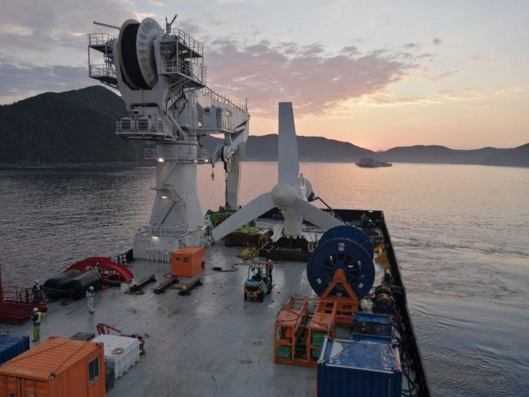 A Scottish built tidal turbine in the Goto Islands, Japan.