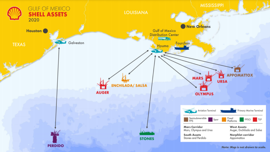 Map showing Shell's assets in the US Gulf of Mexico