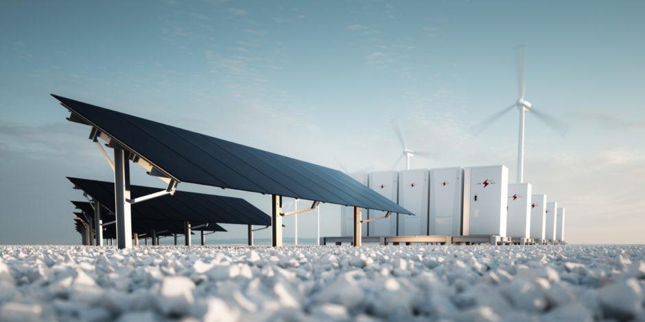Concept of renewable energy storage.