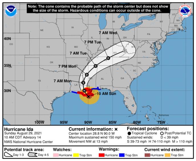 Map showing Hurricane Ida's path