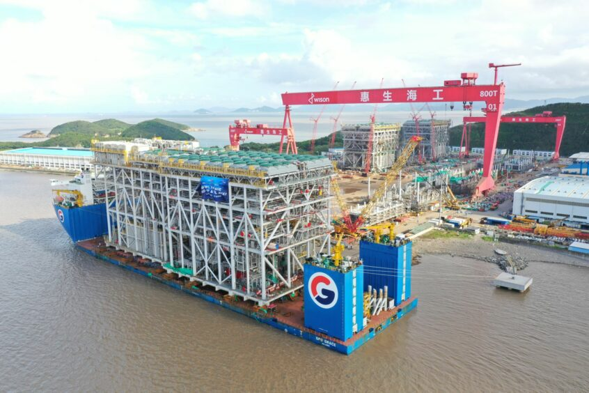 Industrial module on a ship leaves yard