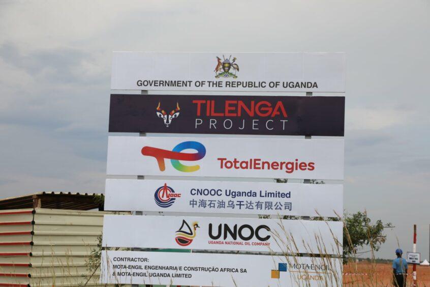 Sign showing Tilenga participants