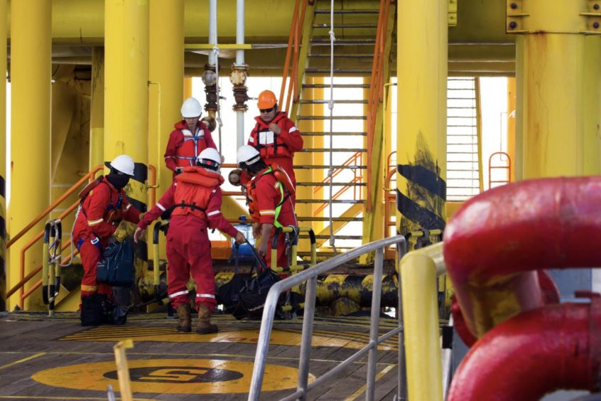 Offshore workers in Brunei.