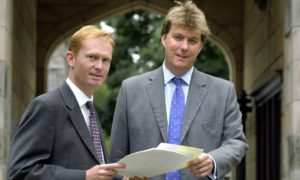 (from left) Mike Wagstaff and Bruce Dingwall at Elphinstone Hall, Kings College, Aberdeen