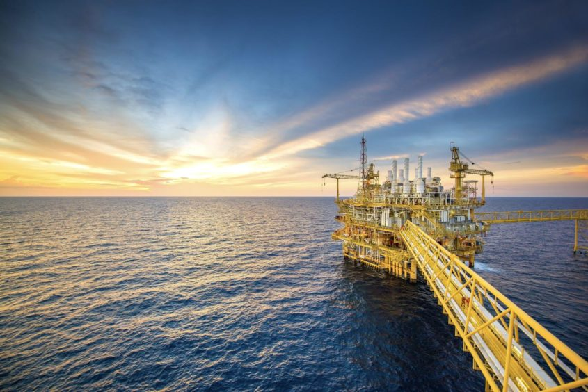 Oil and gas platform in the Gulf of Thailand.