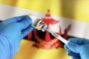 Doctor preparing vial of vaccine injection for the vaccination plan against diseases in Brunei against the country's flag.