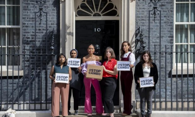 Campaigners hand in an open letter signed by over 80,000 people to Downing Street opposing the huge new Cambo oil field off Shetland. Stop Cambo / David Mirzoeff Date; Unknown