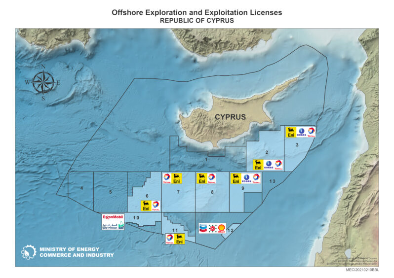 Map showing Cyprus' offshore licences