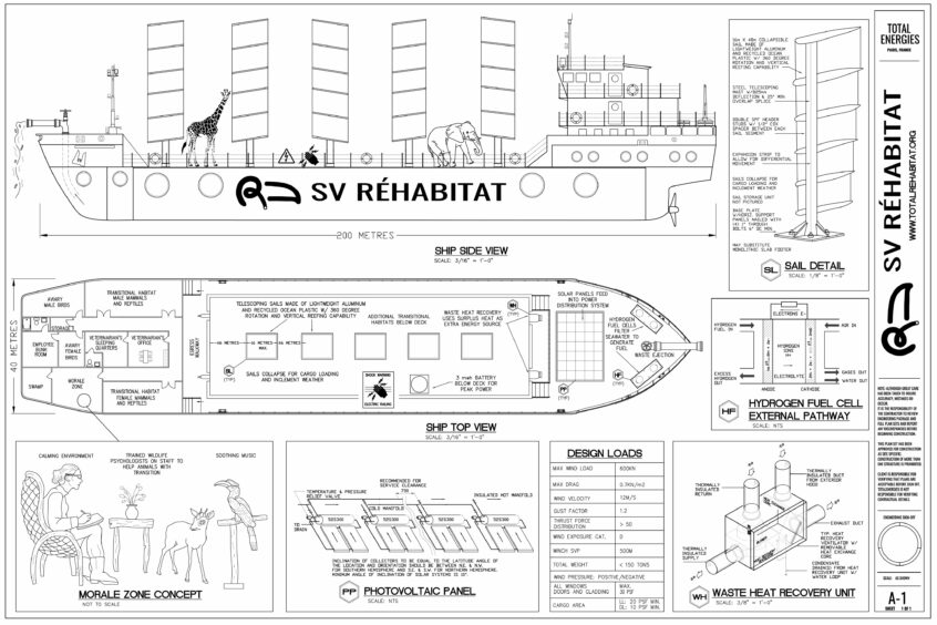 A schematic of a made up ship