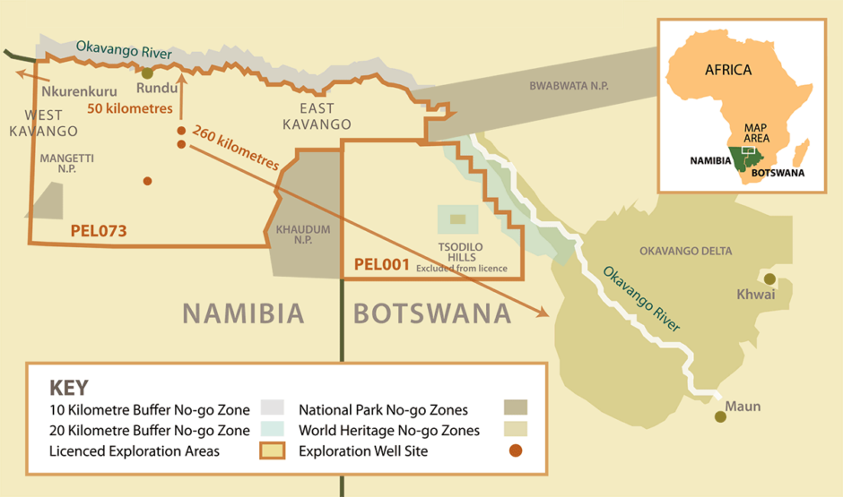 Map showing ReconAfrica acreage in Namibia and Botswana