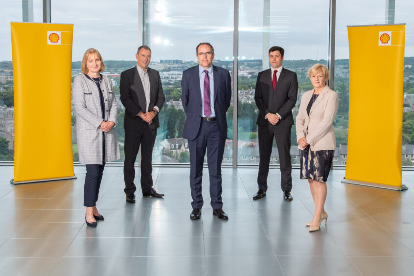 l-r OGUK chief executive Deirdre Michie, Aberdeen & Grampian Chamber of Commerce CEO Russell Borthwick, Shell UK upstream senior vice-president Simon Roddy, Aberdeen City Council (ACC) growth and resources committee convenor Ryan Houghton and ACC leader Jenny Laing.