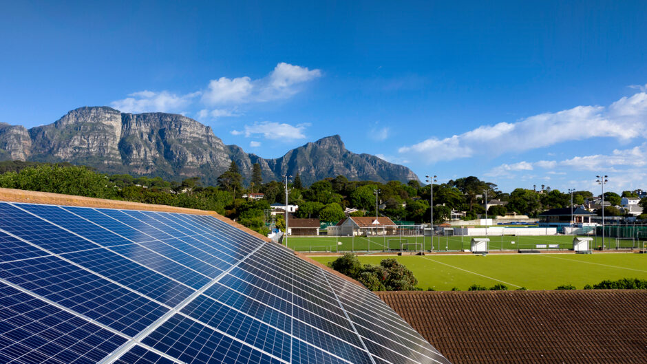 Solar panel in the foreground, Table Mountain in the background