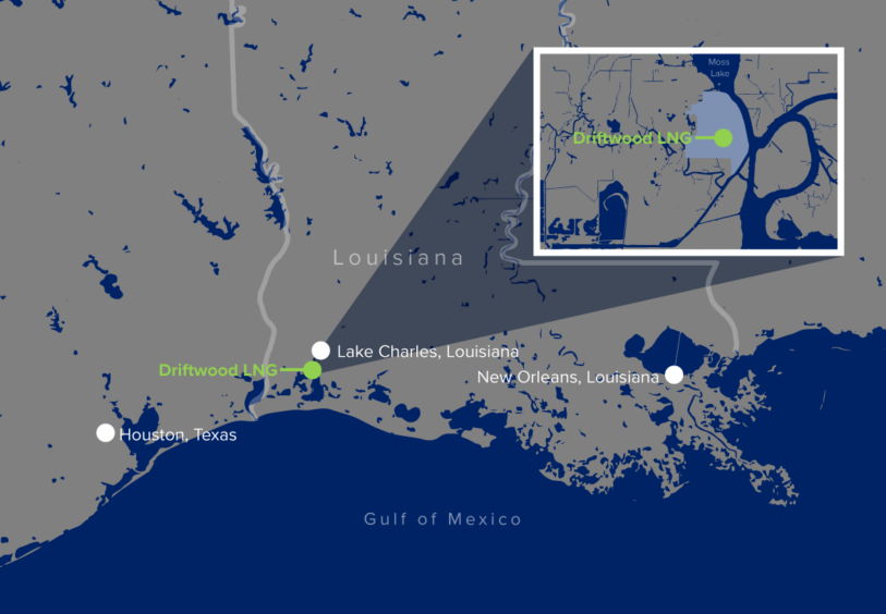 Map showing location of Driftwood LNG on the US Gulf Coast