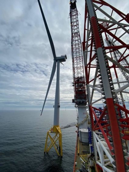 The last of 100 turbines being fitted at Moray East