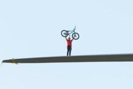 VIDEO: Daredevil Danny MacAskill cycles along wind turbine blade ahead of COP26