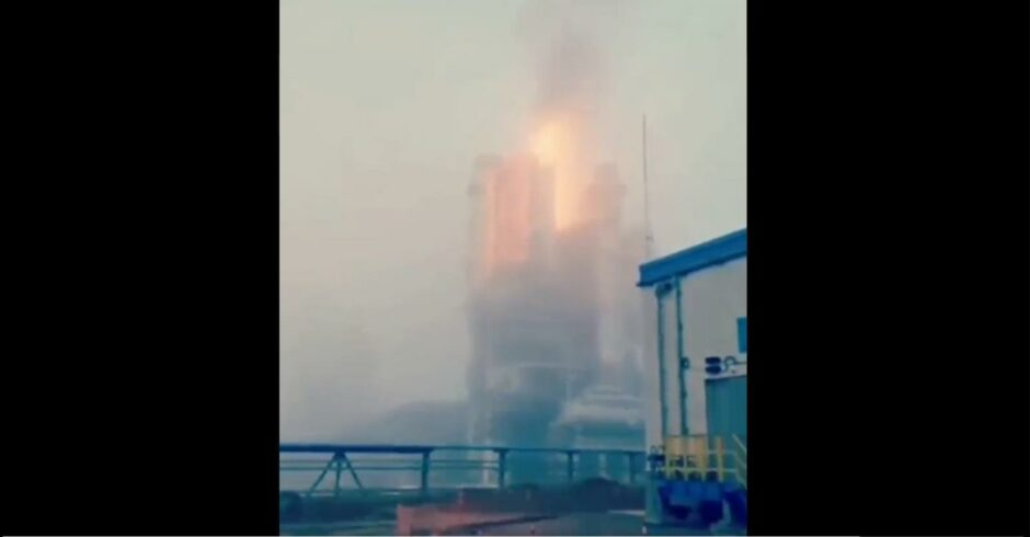 Russia gas fire