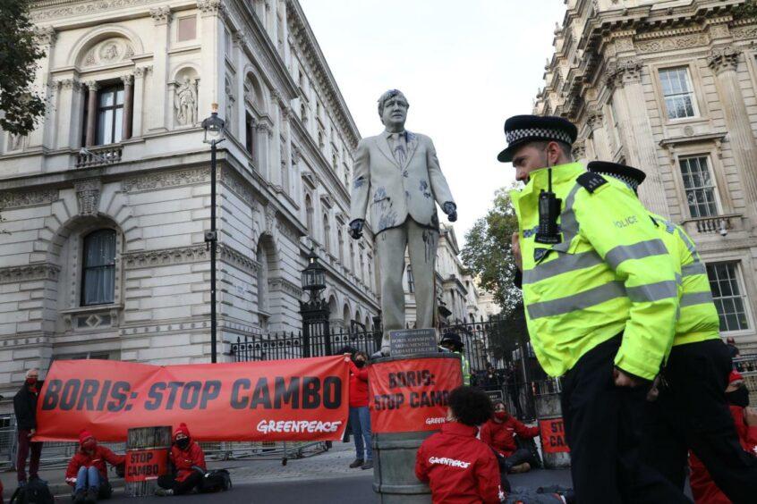 Greenpeace boris statue cambo