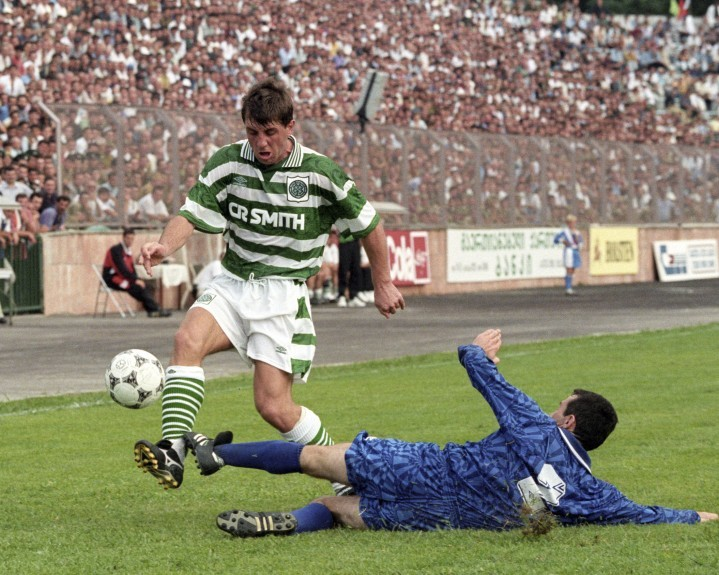 Rudi Vata (left) in action for Celtic against Batumi in 1995.