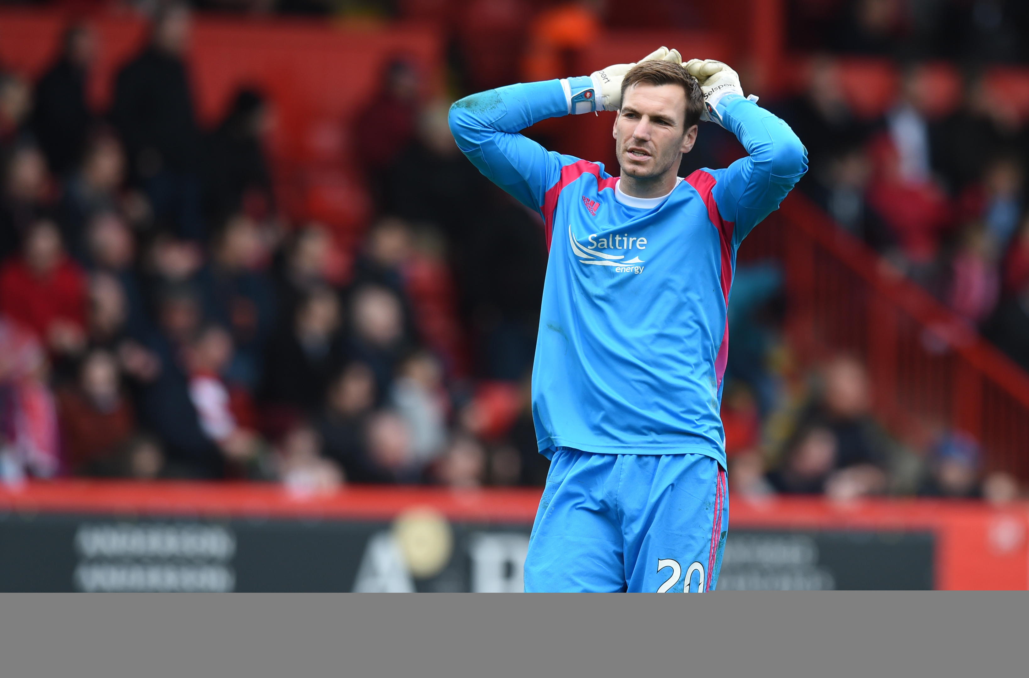 Despite a series of fine saves Aberdeen keeper Scott Brown can't help his side to a win.
