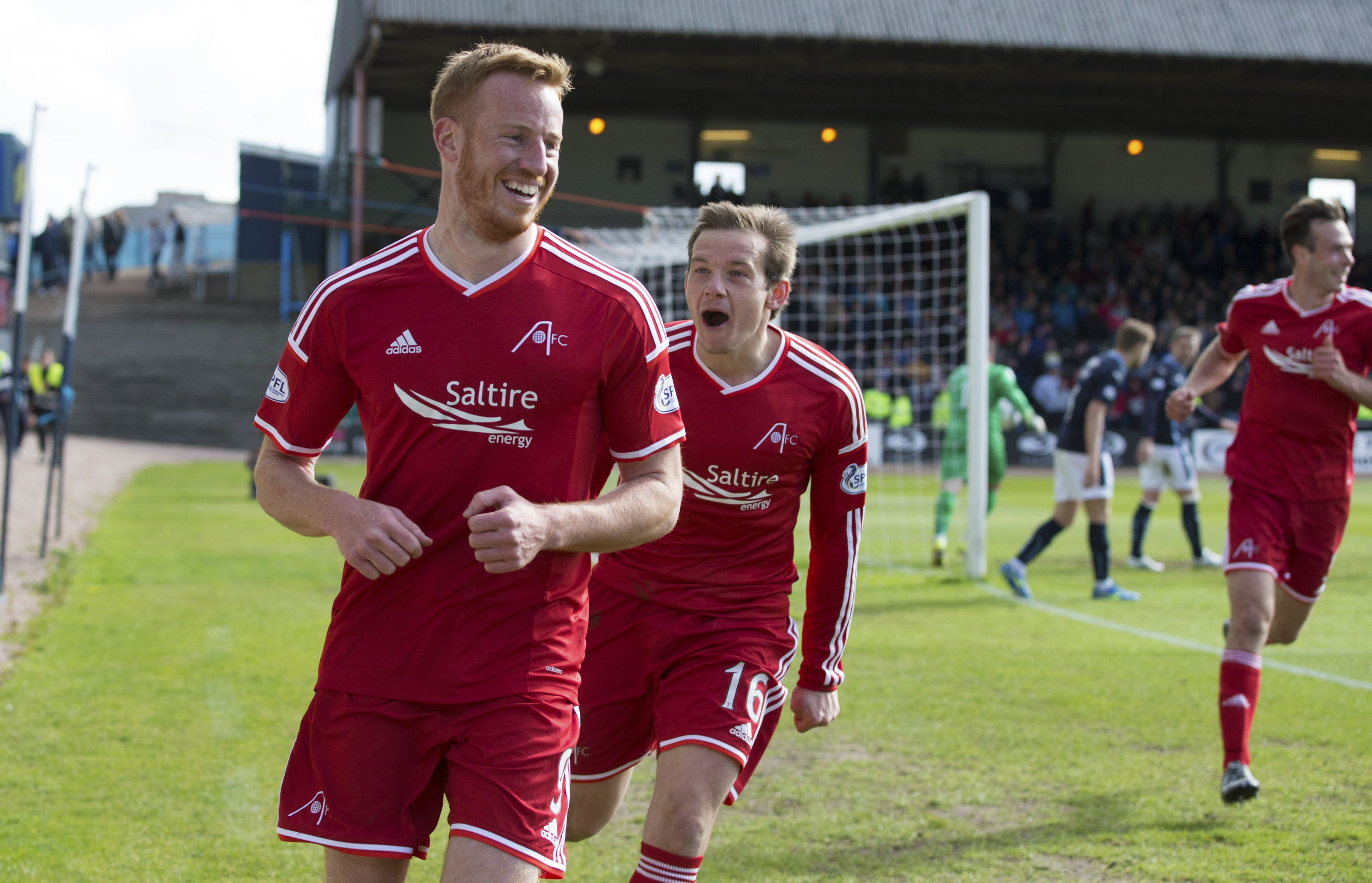 Aberdeen's Adam Rooney (left) celebrates after equalising for his side