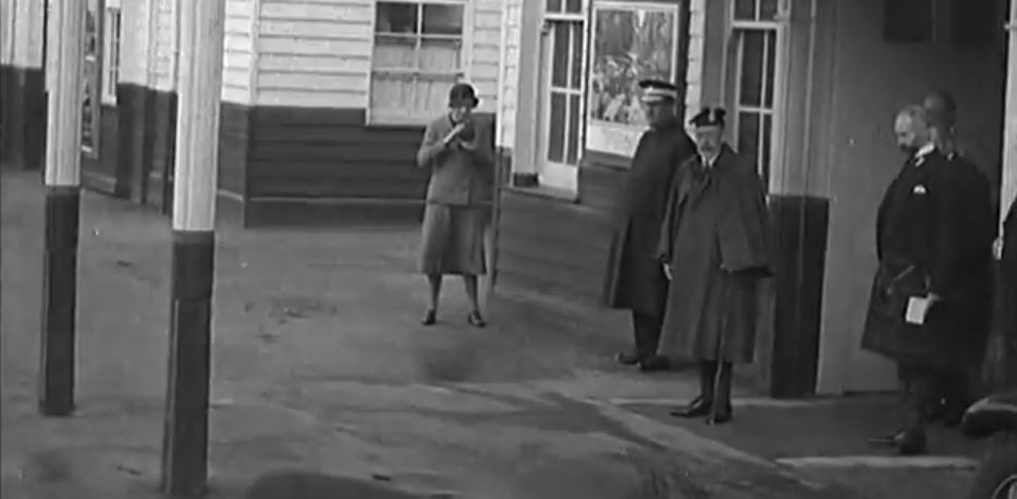 King George arrives in Ballater in 1934. Still from British Pathe archive footage.