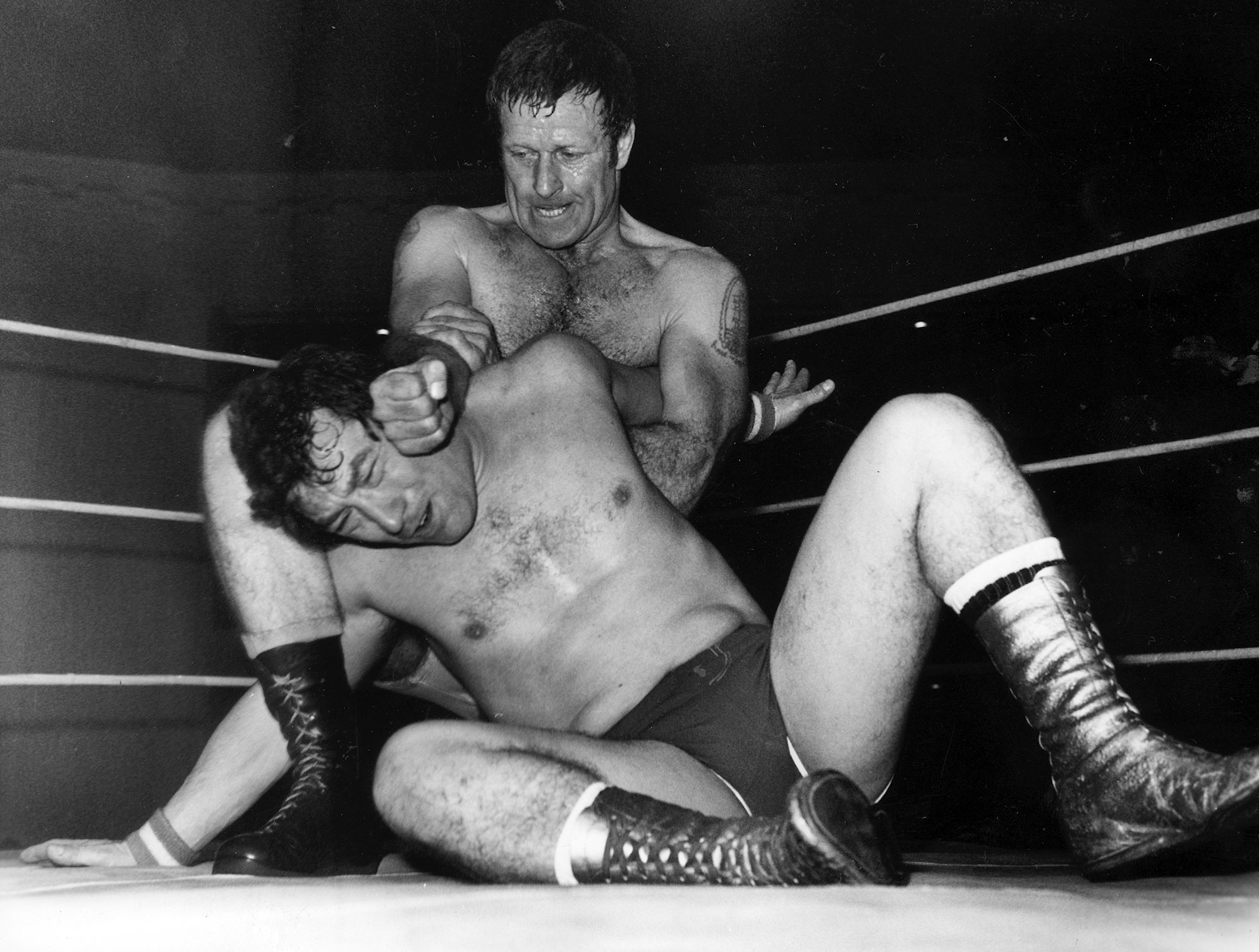 Cllr Ironside, seen here wrestling Johnny Saint at the Beach Ballroom in 1986