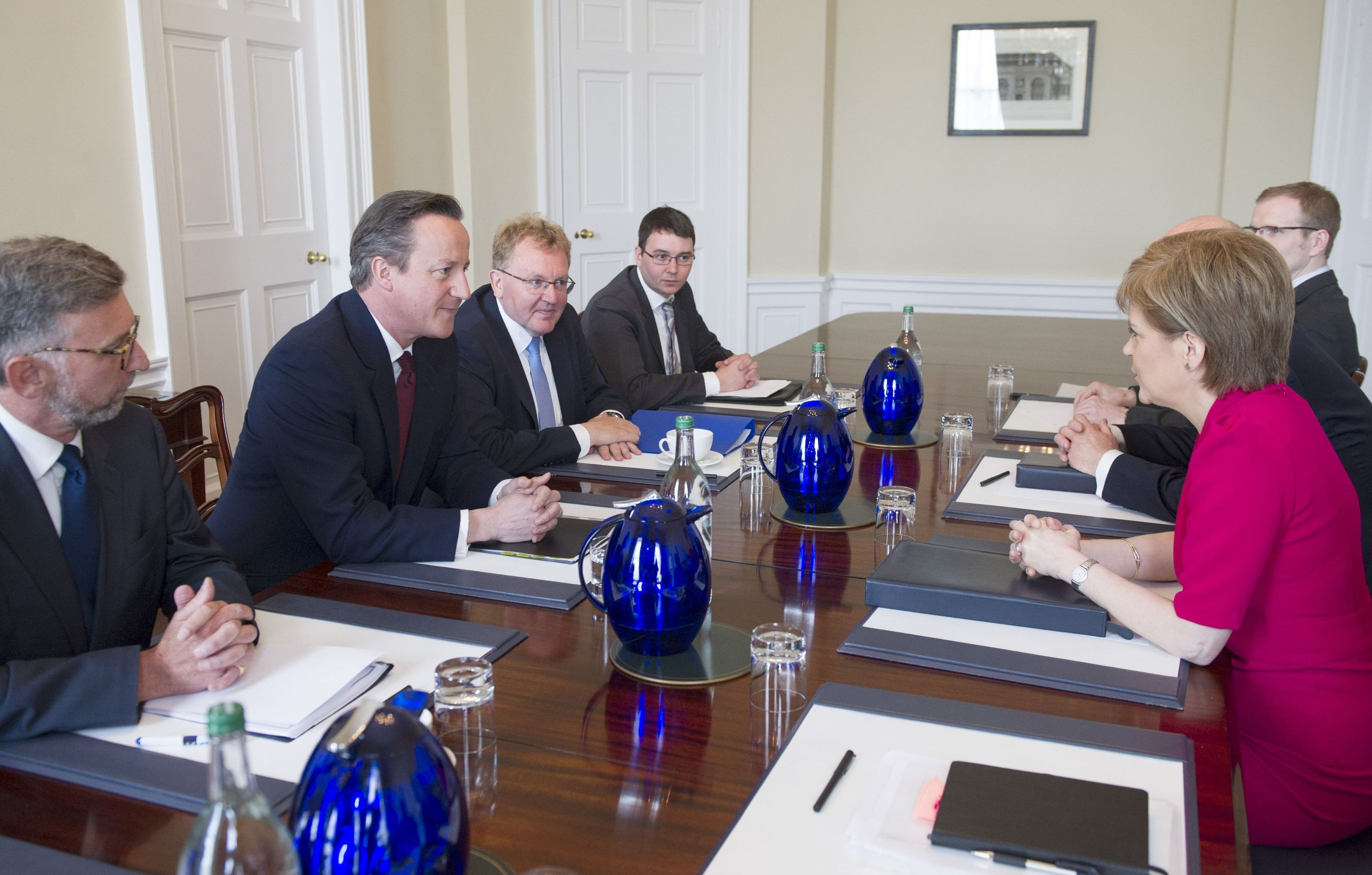 Prime Minister David Cameron (2nd left) meeting Scottish First Minister Nicola Sturgeon (right) at Bute House in Edinburgh.