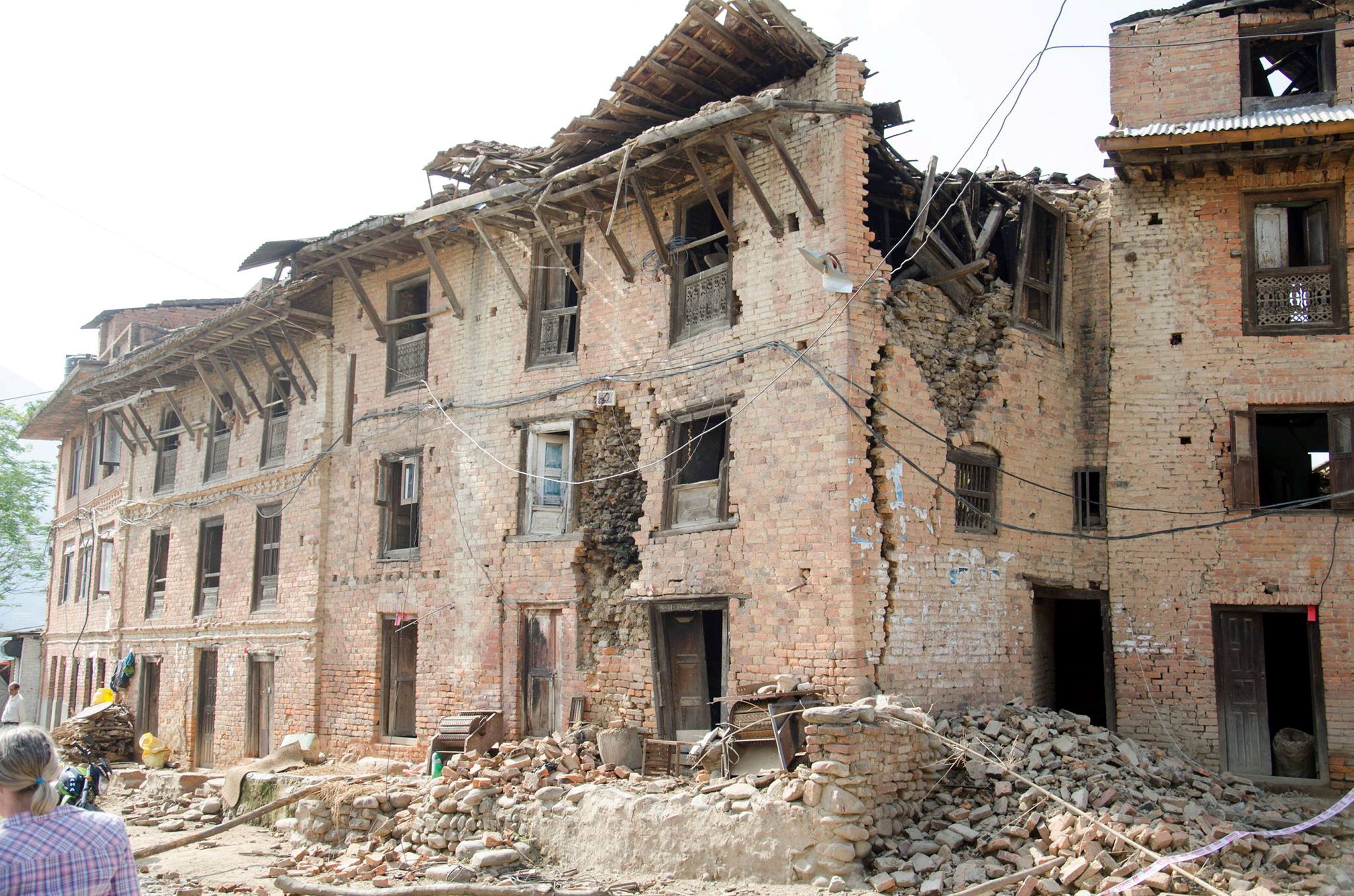 Damage caused to a building in the Nepalese disaster.