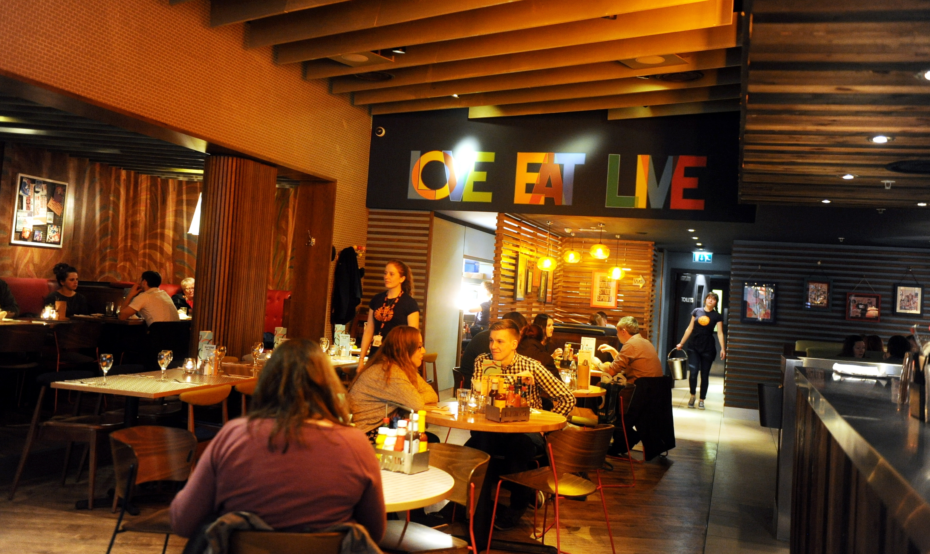 TASTY TREAT:  Customers enjoy a meal out at Giraffe in Union Square.