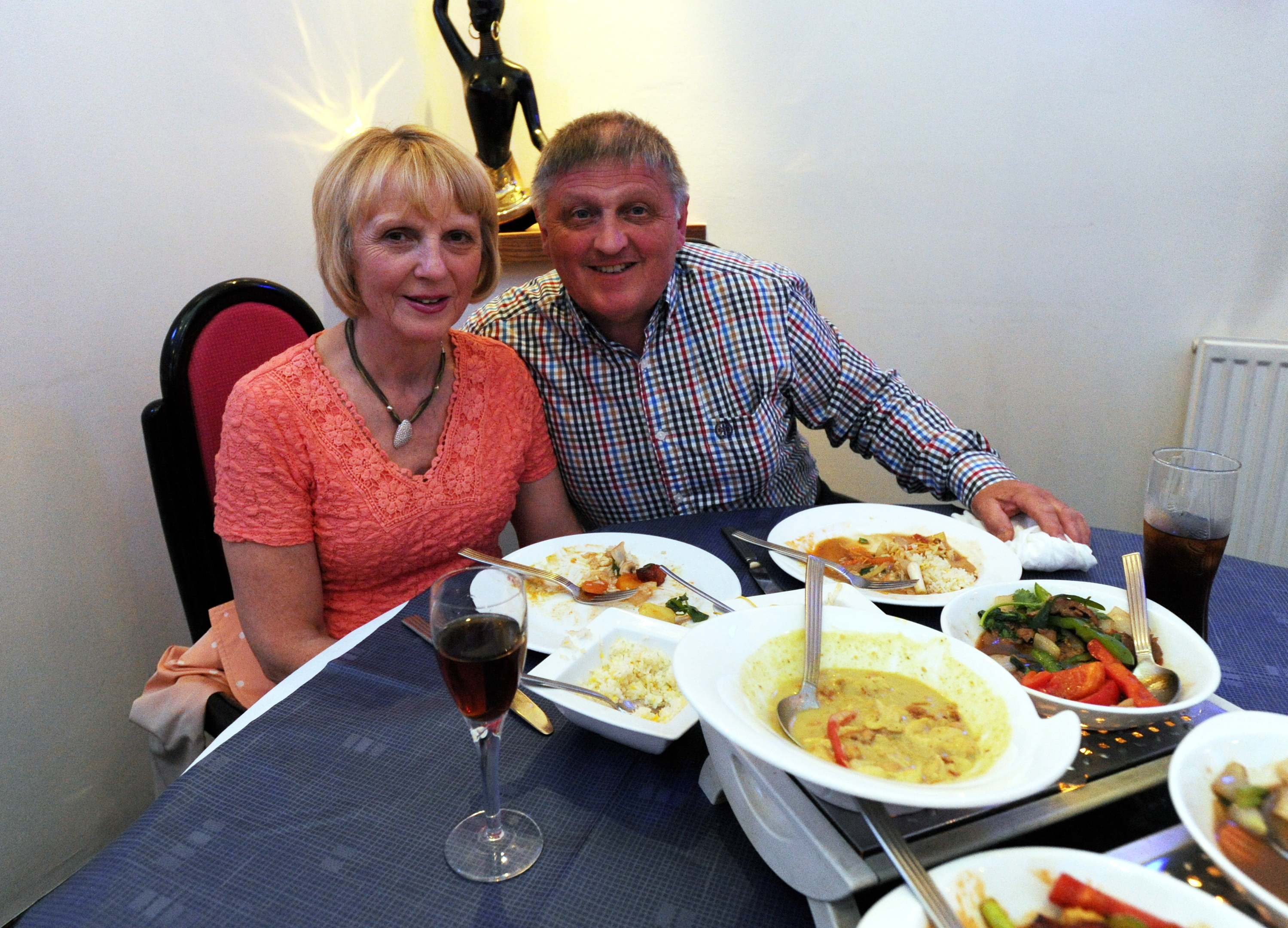 Diners June and Donald Christie mark their eighth wedding anniversary at the Royal Thai.