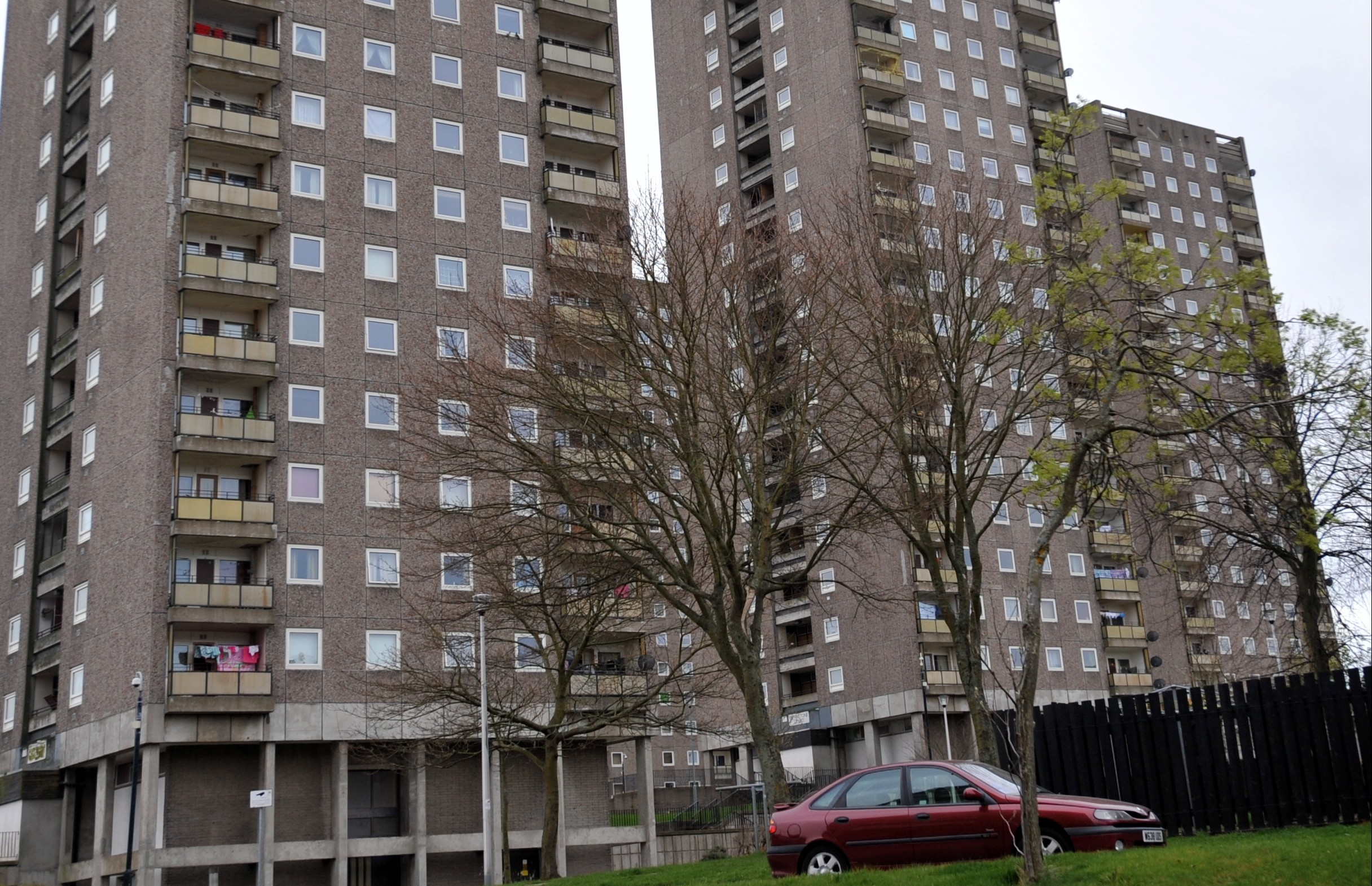 FLATS: St Machar Court, scene of the alleged incident.