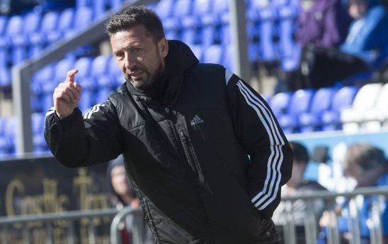 Aberdeen manager Derek McInnes gives instructions from the technical area