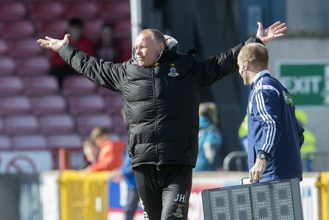 ICT manager John Hughes is animated on the touchline