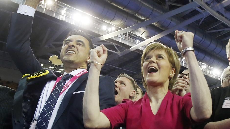 SNP leader Nicola Sturgeon celebrates winning all seven Glasgow constituencies