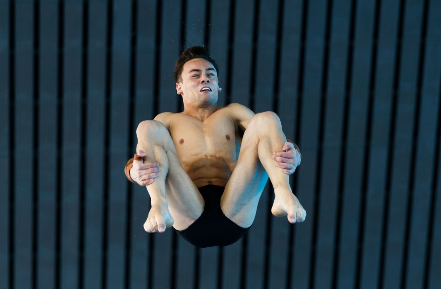 Tom Daley practices his dives during the FINA Diving World Series at London Aquatics Centre.
