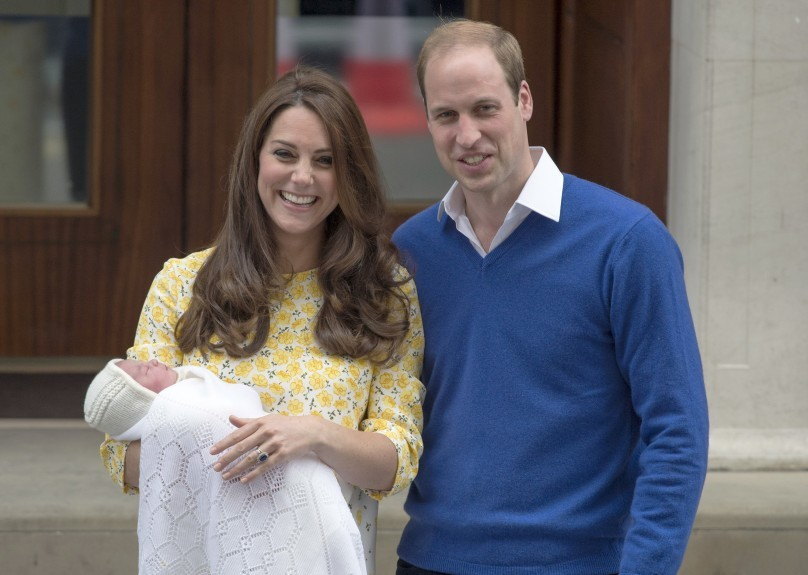 The Duke and Duchess of Cambridge and the newborn Princess of Cambridge as they leave the Lindo Wing of St Mary's Hospital in London.
