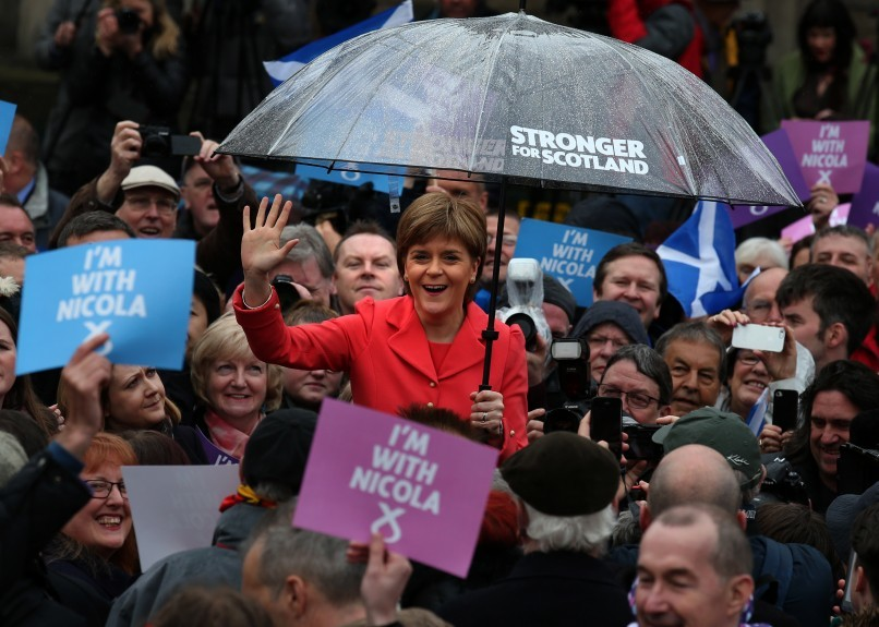 SNP leader Nicola Sturgeon speaks to party activists outside the National Galleries of Scotland in Edinburgh on the last day of the General Election campaign.