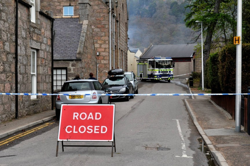 Areas around the scene of the fire have been cordoned off. Picture by Heather Fowlie.