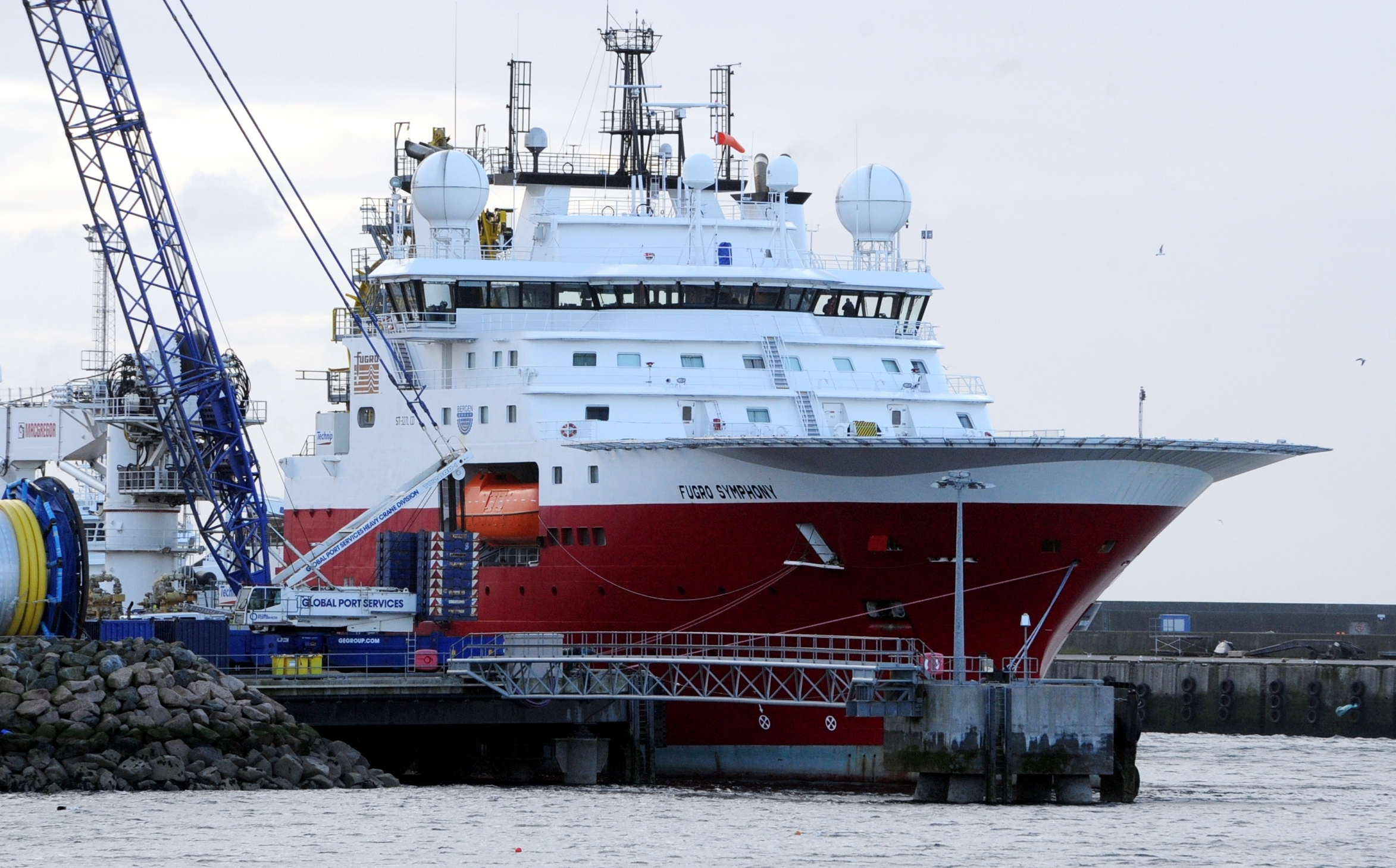 The Furgo Symphony in Peterhead harbour this morning following the fire.