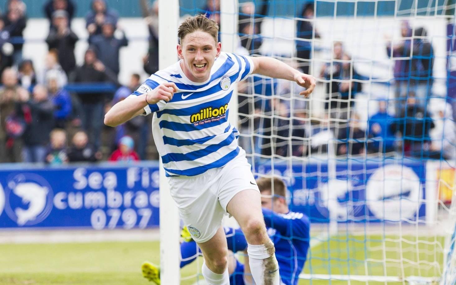Morton's Declan McManus celebrates after scoring his side's third goal yesterday