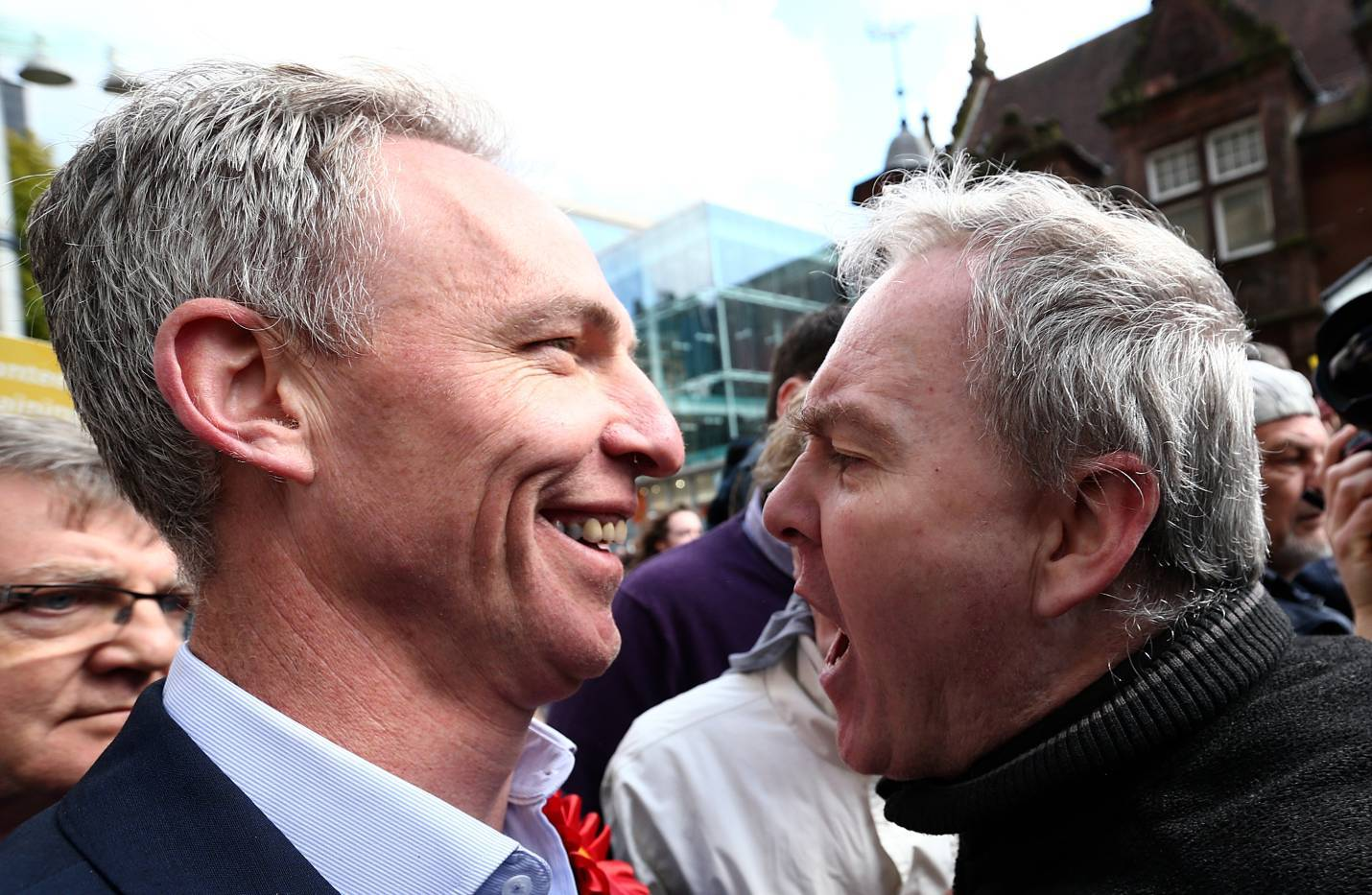 Jim Murphy, the leader of the Scottish Labour Party, is confronted by a protester as he campaigns with comedian Eddie Izzard
