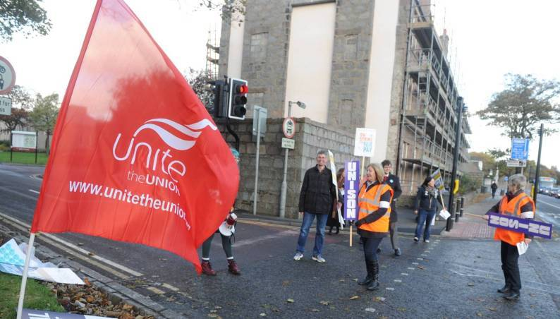 Staff at the University of Aberdeen on strike back in 2013