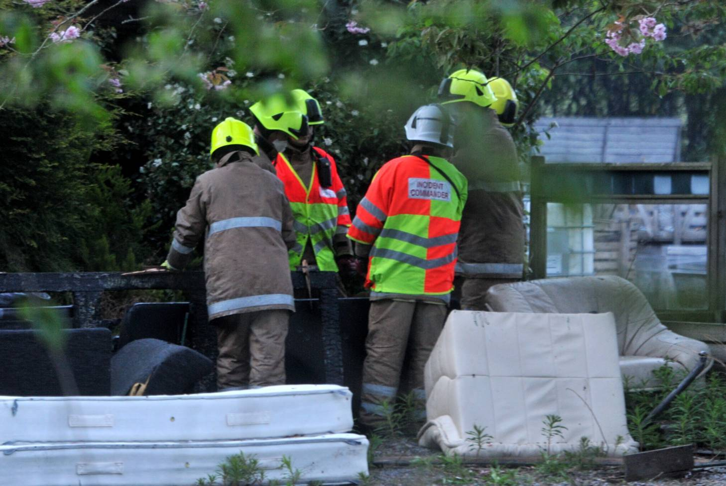 Firefighters at the scene of the blaze last night. Pictures by Heather Fowlie.