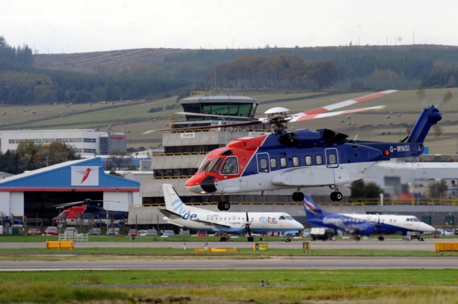 A CHC helicopter made an emergency landing at Aberdeen airport.