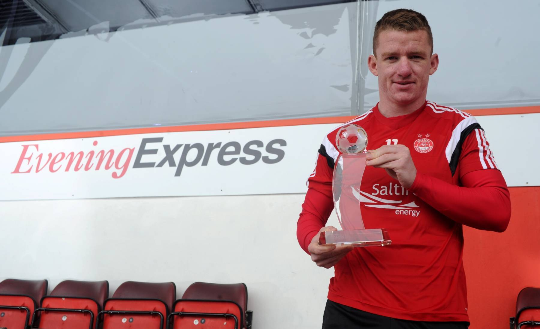 Jonny Hayes won the Evening Express Player of the Year award. Picture by Darrell Benns.