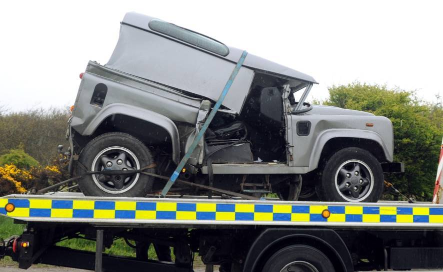 The Land Rover was recovered after the crash on the A90.