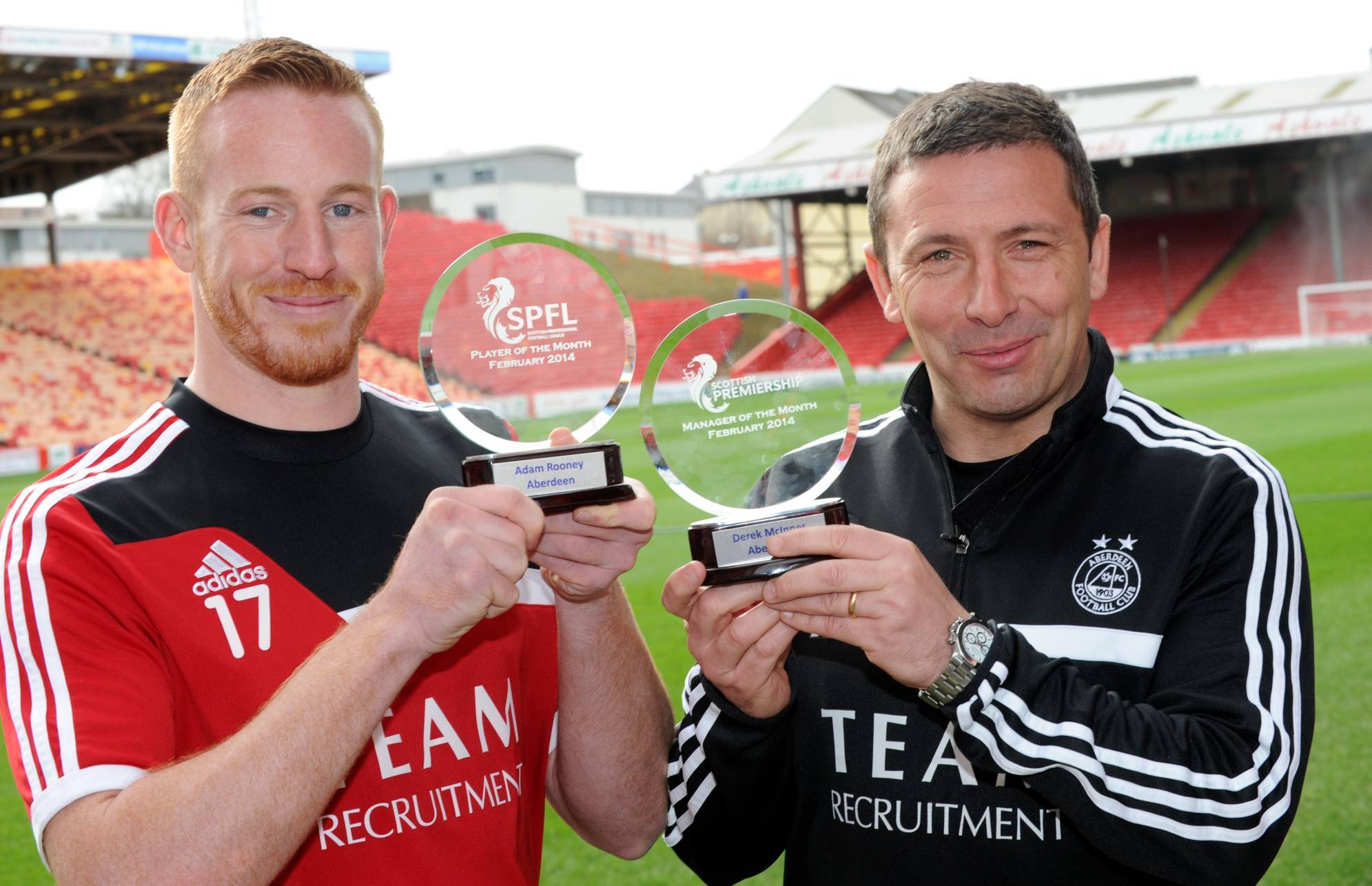 Adam Rooney and Derek McInnes are in the running for the top prizes tonight
